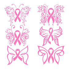 free pink ribbon silhouette design and cut file breast cancer