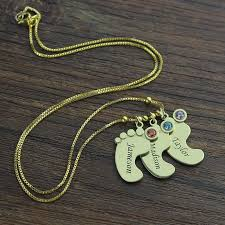 children s name necklace gold color baby charm birthstone necklace personalized