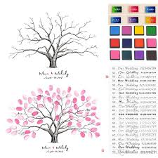wedding tree thumbprint family tree sign in wedding thumbprint guest book