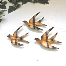deco plaque metal art deco vintage set of 3 enamel flying swallow sparrow swift