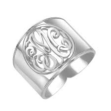 monogram initial ring classic cutout cigar band monogram ring 18mm personalized jewelry