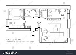 floor plan shower symbol outline vector simple furniture plan floor stock vector 675002338