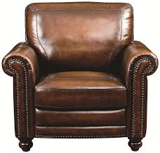 bassett hamilton traditional leather chair with nail head trim