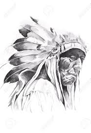 sketch of tattoo art indian head stock photo picture and royalty