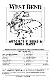 West Bend Bread Machine Parts Search Dough Makers User Manuals Manualsonline Com