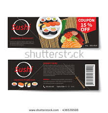 discount cuisine sushi coupon discount template flat design เวกเตอร สต อก 436539598