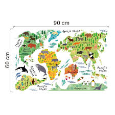 World Map Cartoon by Aliexpress Com Buy Vinyl Animal World Map Wall Sticker For Kids