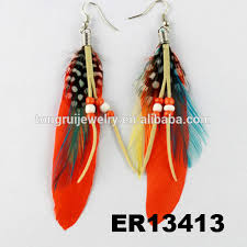 one side feather earring wholesale fashion blue one side dangling feather earrings for