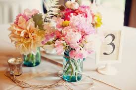 Mason Jar Flower Centerpieces Mason Jars With Colorful Flowers For Wedding