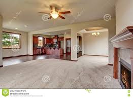 Open Floor Plans With Pictures open floor plan interior with carpet and fireplace stock photo
