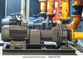 Basement Water Pump by Condenser Water Pump Chiller Water Pump Stock Photo 180493739