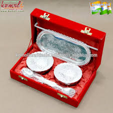 silver plated baby gifts mini capsuel silver plated brass bowl spoon set for indian baby