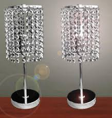 pair of touch bedside table lamps with stainless steel stand and