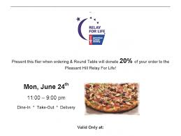 round table pizza pleasant hill california relay for life to host pizza fundraiser pleasant hill ca patch