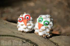 snow owl pine cone craft ted dma homes 52174