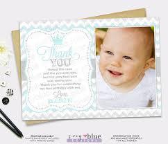 prince birthday thank you card 1st boy first birthday light