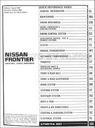 nissan frontier automatic transmission 2001 nissan frontier pickup repair shop manual set original