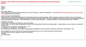 sales representative recreation and sporting goods offer letter