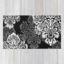 Damask Area Rug Black And White Black And White Damask Rug Rugs Decoration