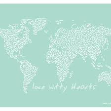 World Map Large by Large Teal Map Of The World With Heart Stickers By Witty Hearts