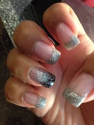 silver tips with black fade party nail acrylic nails by jennifer