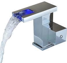 Sumerain Waterfall Faucet Led Thermal Waterfall Sink Faucet Modern Bathroom Sink Faucets