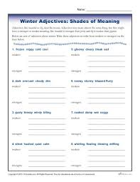 winter adjectives worksheet activity shades of meaning