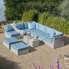 Cushions For Wicker Patio Furniture Corvus 10 Grey Wicker Patio Furniture Set With Blue Cushions