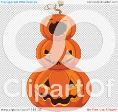 transparent halloween background clipart of a stack of carved halloween jackolantern pumpkins