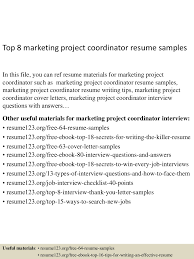 top8marketingprojectcoordinatorresumesamples 150514010336 lva1 app6892 thumbnail 4 jpg cb u003d1431565461