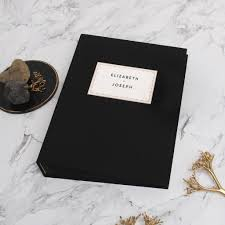 photo album black pages photo booth wedding guest book album black with paper label black