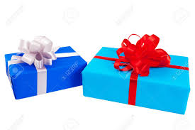 gift wrapped boxes two gift boxes wrapped in colorful paper ribbon bow isolated