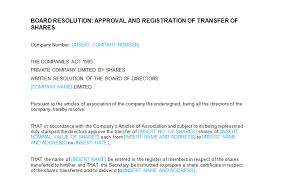 board meeting approval and registration of transfer of shares