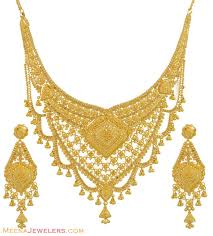 new gold wedding necklace images Gold necklace and earrings set 22kt indian jewelry with jpg
