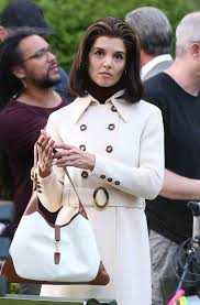 kennedy camelot katie holmes on the set of the kennedys after camelot in toronto