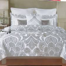 metallic silver king duvet cover 3pc damask scroll silver floral