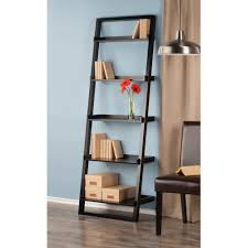 Easy To Assemble Bookshelves Amazon Com Winsome Wood Bailey Leaning 5 Tier Shelving Unit