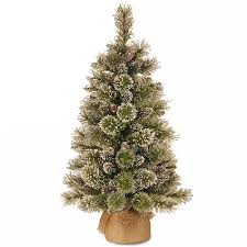 3ft glittery bristle pine artificial tree table top