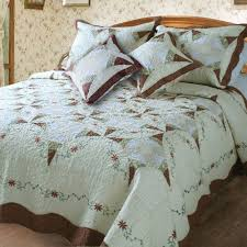 Quilted Cotton Coverlet Dada Bedding Classic Cotton Cottage Floral Ivory U0026 Brown Quilted