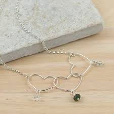 Children S Birthstone Jewelry Silver Mother And Children U0027s Heart Birthstone Necklace By Tanya