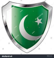 Pakistan Flag Picture Pakistan Flag On Metal Shiny Shield Stock Vector 42842098