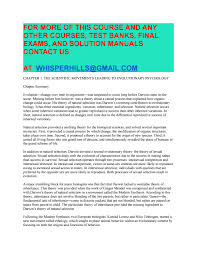 test bank for evolutionary psychology the new science of the mind