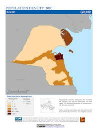 Kuwait On A Map Maps Population Density Grid V1 Sedac