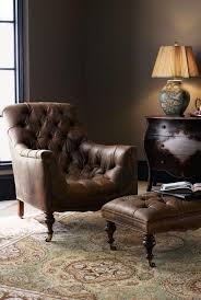 Modern Reading Chair Tufted Leather Reading Chair With Ottoman