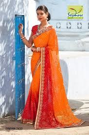 color designer orange red color designer georgette bandhani saree