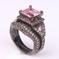 Black And Pink Wedding Rings by Shop Pink And Black Engagement Ring On Wanelo