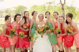 bridesmaid dresses orange and green wedding dress shops