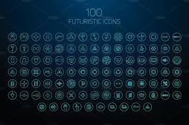 set of futuristic icons icons creative market