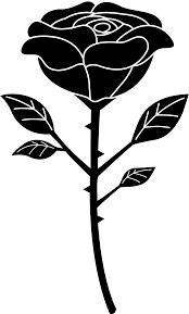 single rose black and white clipart clipartix