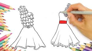 how to draw dresses fashion coloring pages for kids learn drawing